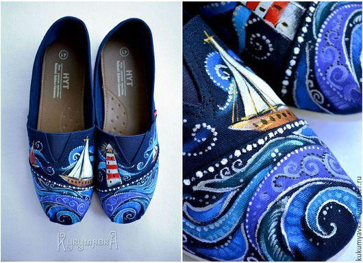 Обувь ручной работы. Ярмарка Мастеров - ручная работа. Купить Морской бриз. Кеды с ручной росписью (слипоны,балетки). Handmade.
