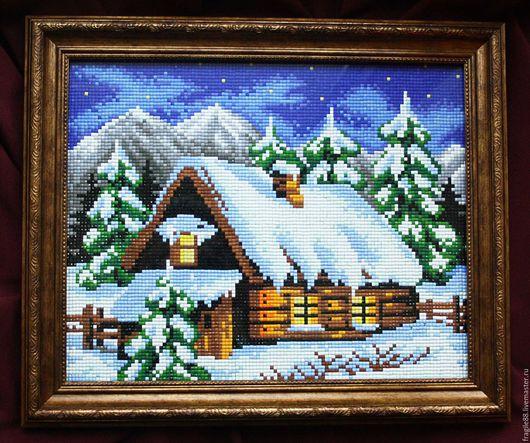 Город ручной работы. Ярмарка Мастеров - ручная работа. Купить Домик в горах, алмазная мозаика. Handmade. Комбинированный, картина в подарок