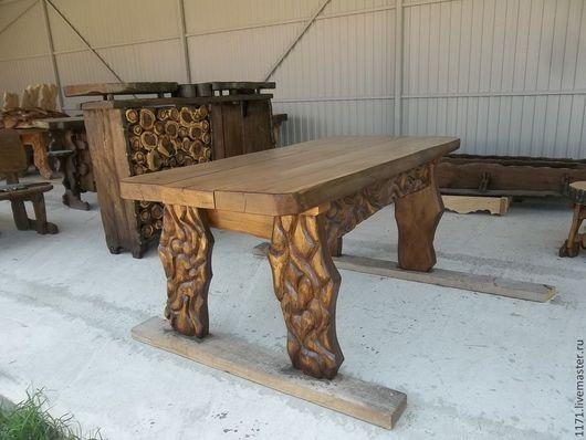 Экстерьер и дача ручной работы. Ярмарка Мастеров - ручная работа. Купить стол средний-1. Handmade. Коричневый