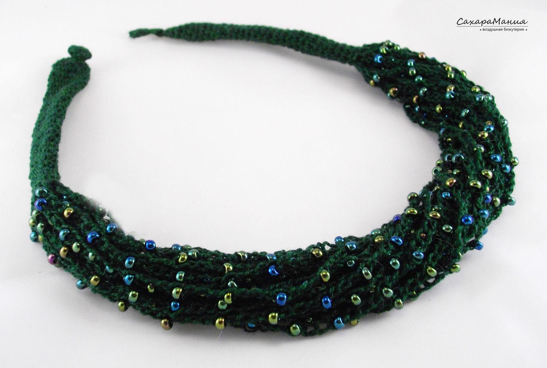 Necklace boho style knitting beaded jewelry designer jewelry ...