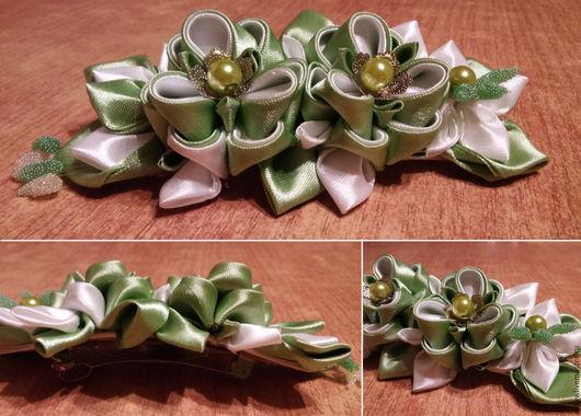 """Заколки ручной работы. Ярмарка Мастеров - ручная работа. Купить заколка """"Весна"""". Handmade. Зеленый, заколка для волос, канзаши"""