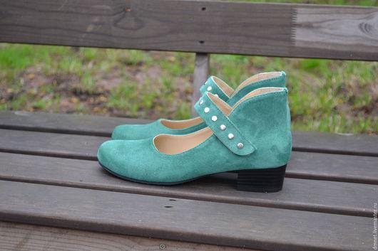 Обувь ручной работы. Ярмарка Мастеров - ручная работа. Купить Туфли женские с ремешком на липучке. Handmade. Морская волна