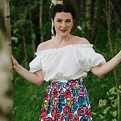Одежда ручной работы. Ярмарка Мастеров - ручная работа Large roses and happy girl skirt by Candy Cottons. Handmade.