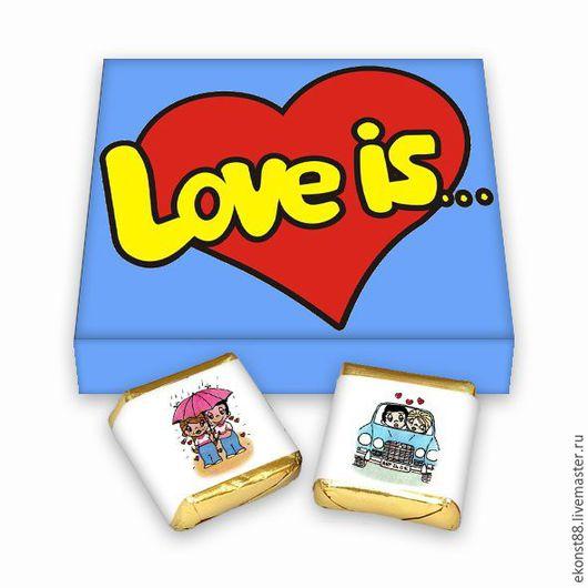 """Подарочные наборы ручной работы. Ярмарка Мастеров - ручная работа. Купить Обертки для шоколада """"Love is"""". Handmade. Шаблон, шаблоны"""