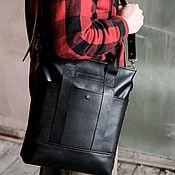 Сумки и аксессуары handmade. Livemaster - original item Shopping bag made of genuine leather with a zipper and a belt in black. Handmade.
