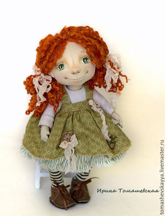 Интерьерная текстильная кукла. Красивая роспись текстильной куклы. Пузатик, шарнирная текстильная кукла. Куклы и игрушки Томашевской Ирины.