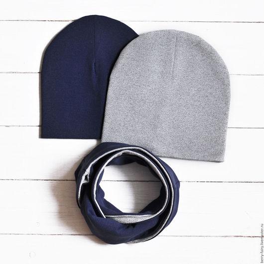 Комплекты аксессуаров ручной работы. Ярмарка Мастеров - ручная работа. Купить Комплект Синяя/Серая шапка и сине-серый снуд. Handmade.