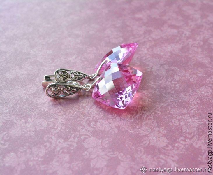 Серьги ручной работы. Ярмарка Мастеров - ручная работа. Купить Серебряные серьги Цветущий пион розовые серьги розовый топаз. Handmade.