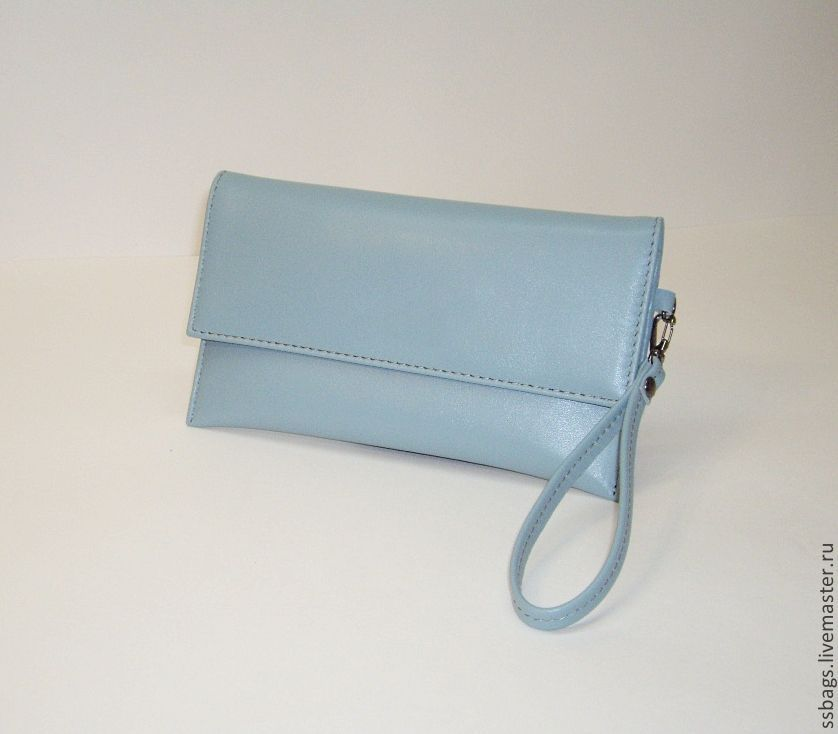 Clutch bags small, leather.Grey-blue and pale mint, Clutches, St. Petersburg,  Фото №1