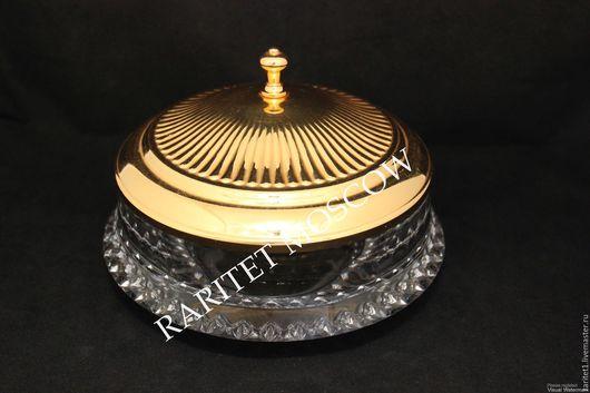 Винтажная посуда. Ярмарка Мастеров - ручная работа. Купить Ваза бонбоньерка латунь хрусталь золото Бельгия 49. Handmade. Разноцветный
