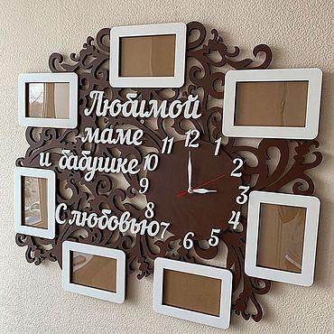 Для дома и интерьера ручной работы. Ярмарка Мастеров - ручная работа Семейное дерево и фото с часами и без них. Handmade.