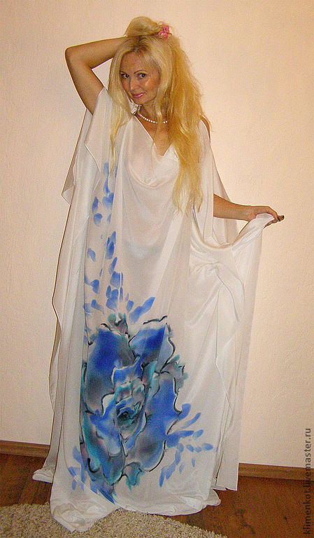 Большие размеры ручной работы. Ярмарка Мастеров - ручная работа. Купить платье в пол - Голубая роза Сириуса. Handmade. Белый