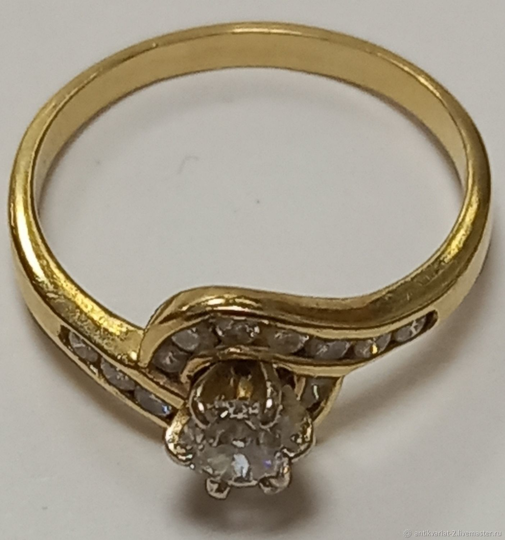 Кольцо с бриллиантами, золото 14 карат,размер 18, Кольца, Тверь,  Фото №1