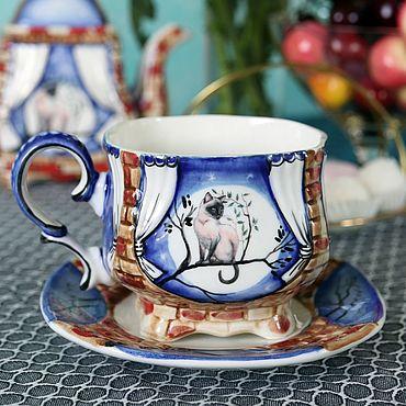 """Посуда ручной работы. Ярмарка Мастеров - ручная работа Чайная фарфоровая пара """"Лунный кот"""". Handmade."""