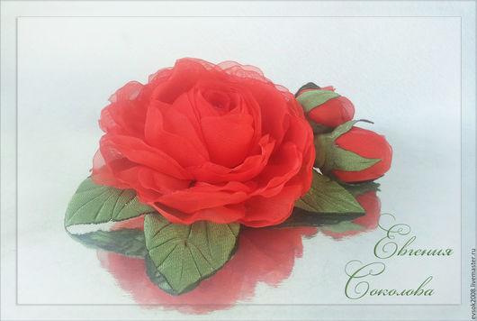 Броши ручной работы. Ярмарка Мастеров - ручная работа. Купить Брошь Красные розы. Handmade. Ярко-красный, роза с бутонами