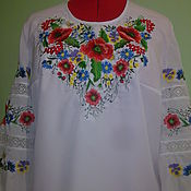 Одежда handmade. Livemaster - original item Embroidered blouse, cut fabric for sewing blouses. Handmade.