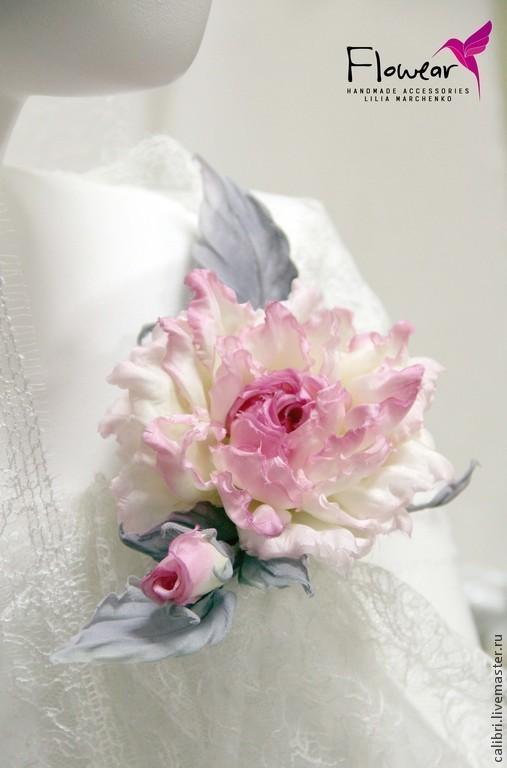 """Цветы ручной работы. Ярмарка Мастеров - ручная работа. Купить Цветы из шелка. Роза """"Зима в розовом цвете"""" - заколка брошь.. Handmade."""