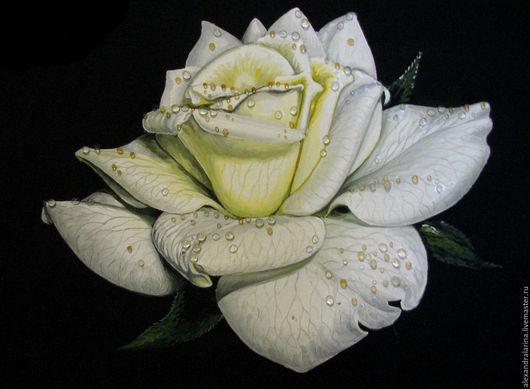 Картины цветов ручной работы. Ярмарка Мастеров - ручная работа. Купить Белая роза. Handmade. Белый, черный, роза, цветок