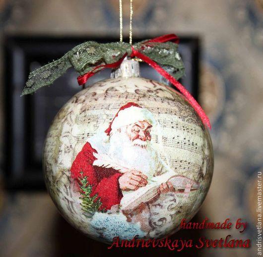 Новый год 2017 ручной работы. Ярмарка Мастеров - ручная работа. Купить Новогодний шар Альпийское шале. Handmade. Бежевый