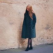 Одежда ручной работы. Ярмарка Мастеров - ручная работа Пальто зелёное со стойкой. Handmade.