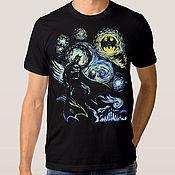 """Одежда handmade. Livemaster - original item Футболка с принтом """"Звездная Ночь Бэтмена"""". Handmade."""