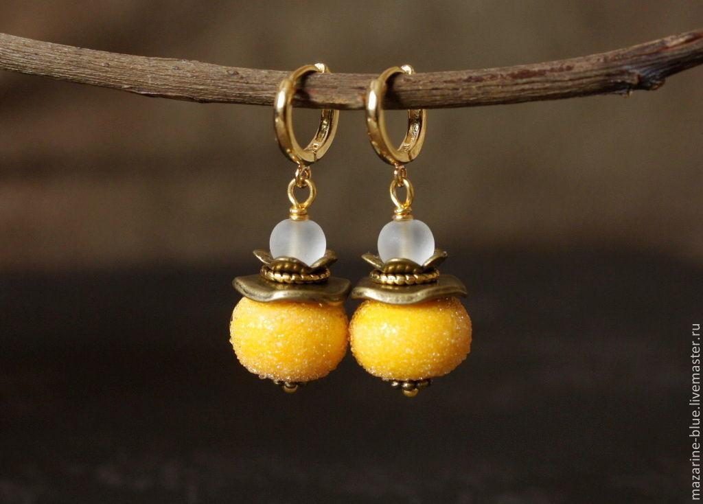 'Lemons' earrings lampwork, Earrings, Krasnodar,  Фото №1