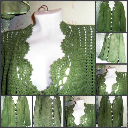 Пиджаки, жакеты ручной работы. Ярмарка Мастеров - ручная работа. Купить Зеленый ажуроный  жакет на пугавицах. Handmade. Зеленый