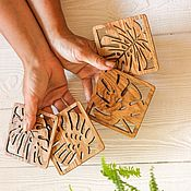 Для дома и интерьера handmade. Livemaster - original item Set of 4 coasters made of oak
