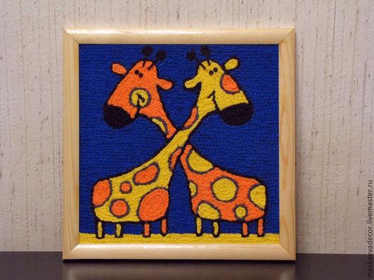 Животные ручной работы. Ярмарка Мастеров - ручная работа. Купить Картина вязанная из пряжи Жирафы 30 х 30 см.. Handmade.