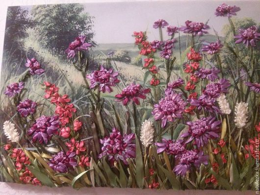 Картины цветов ручной работы. Ярмарка Мастеров - ручная работа. Купить Пейзаж. Handmade. Фиолетовый, картина, подарок, бусины