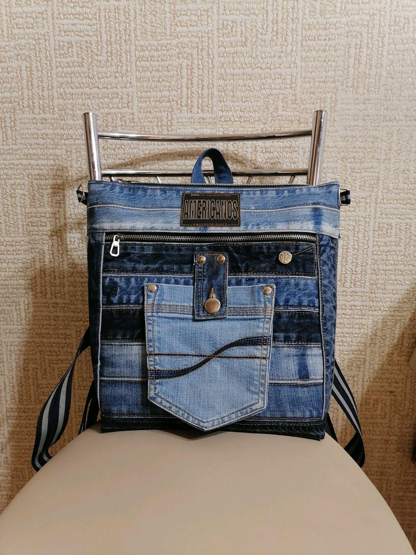 Рюкзак - сумка шоппер, джинсовый, Рюкзаки, Москва,  Фото №1