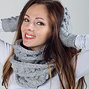 """Аксессуары ручной работы. Ярмарка Мастеров - ручная работа """"Лесная фея"""", комплект вязаный, шарф снуд вязаный и варежки вязаные. Handmade."""