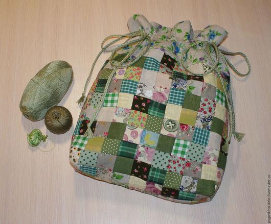 Кухня ручной работы. Ярмарка Мастеров - ручная работа. Купить Лоскутный мешочек из натуральных тканей. Handmade. Зеленый, мешок для хлеба