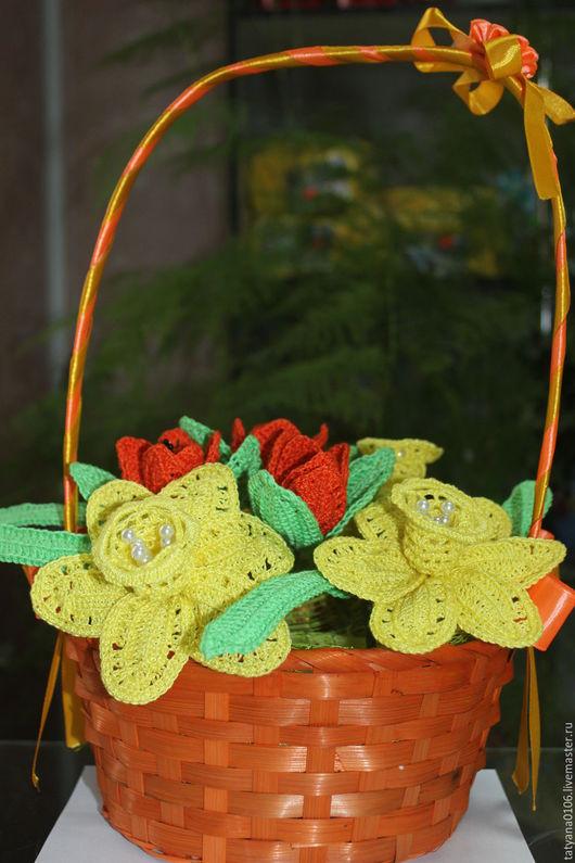 Цветы ручной работы. Ярмарка Мастеров - ручная работа. Купить корзина с цветами. Handmade. Желтый, цветы вязаные крючком, крючком