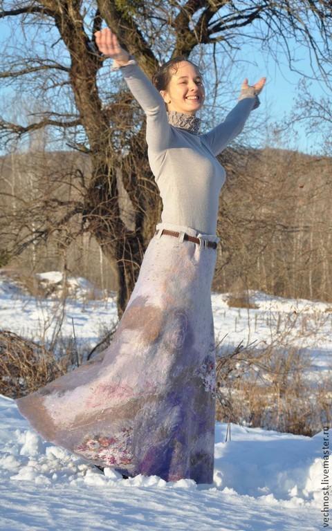 """Юбки ручной работы. Ярмарка Мастеров - ручная работа. Купить Валяная юбка """"Переливы соловья -2"""". Handmade. Серый, гармония"""