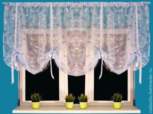 Текстиль, ковры ручной работы. Ярмарка Мастеров - ручная работа. Купить Маленькая, красивая штора на кухню. Handmade. Голубой