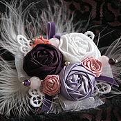 Украшения ручной работы. Ярмарка Мастеров - ручная работа Брошь, заколка-зажим из ткани, аметист, розовый кварц. Handmade.