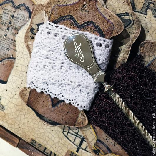 """Крестильные принадлежности ручной работы. Ярмарка Мастеров - ручная работа. Купить Серебряная чайная ложка """"Под гравировку"""" с гравировкой инициалов АГ. Handmade."""