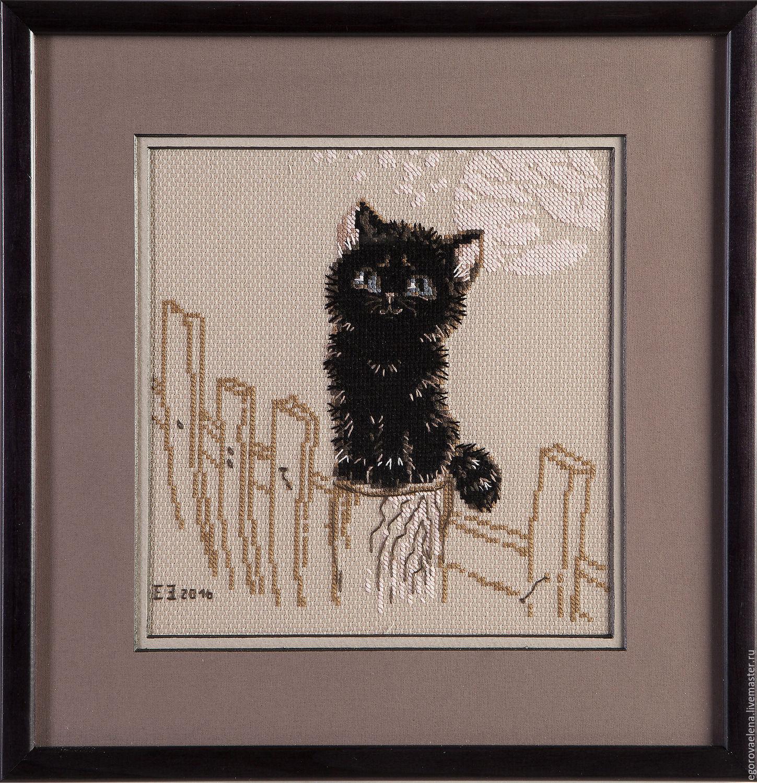Вышивка черный котенок