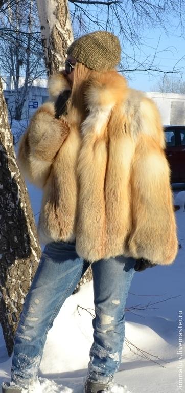 Верхняя одежда ручной работы. Ярмарка Мастеров - ручная работа. Купить Шуба из меха сибирской рыжей лисы с воротником. Цельные пластины.. Handmade.