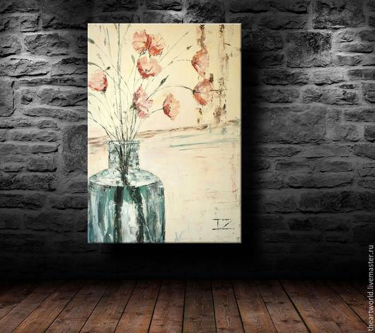 """Картины цветов ручной работы. Ярмарка Мастеров - ручная работа. Купить Картина авторская масло холст """"Букет маков"""" 50/70 картина маслом. Handmade."""