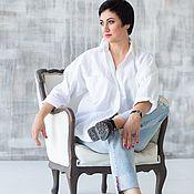 Блузки ручной работы. Ярмарка Мастеров - ручная работа Белая Рубашка в мужском стиле  размер oversize лен. Handmade.