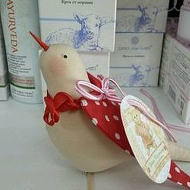 Куклы и игрушки ручной работы. Ярмарка Мастеров - ручная работа Птичка тильда из бязи и ситца. Handmade.