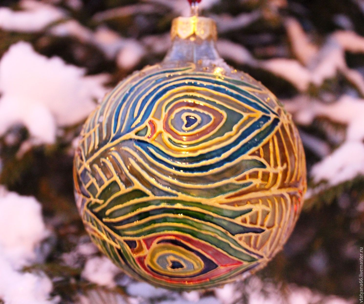 Glass Christmas Ball With Stained Glass Painting Peacock Paint Glass