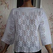 Одежда ручной работы. Ярмарка Мастеров - ручная работа Туника вязаная ажурная из хлопка. Handmade.
