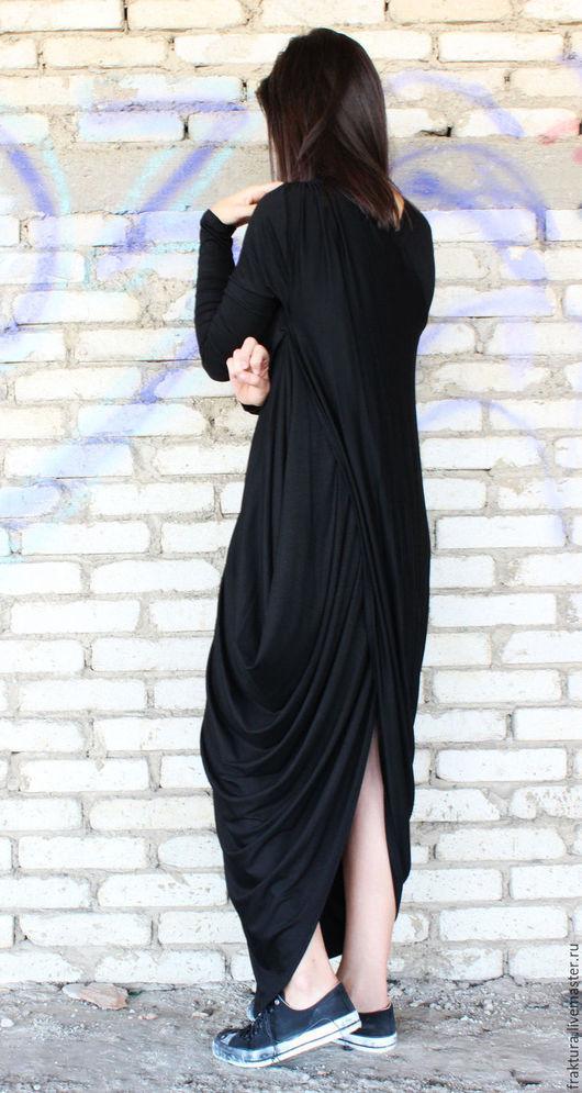 """Платья ручной работы. Ярмарка Мастеров - ручная работа. Купить Платье """"Asymmetric"""" D0008. Handmade. Черный, трикотажное платье, туника"""