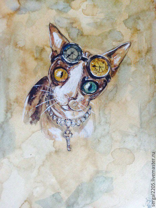 Животные ручной работы. Ярмарка Мастеров - ручная работа. Купить Timekeeper's cat. Handmade. Кот, акварель, стимпанк, время