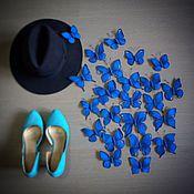 Дизайн и реклама ручной работы. Ярмарка Мастеров - ручная работа Бабочки в синей гамме из креповой бумаги. Handmade.