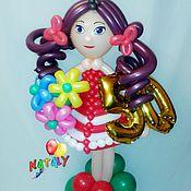 Подарки к праздникам ручной работы. Ярмарка Мастеров - ручная работа Девочка с темными волосами из воздушных шаров.. Handmade.