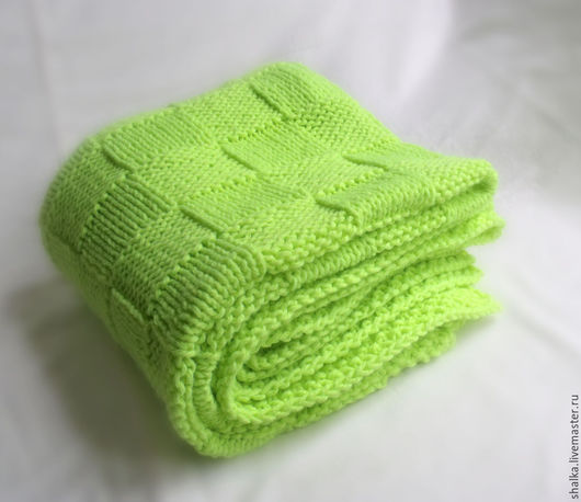 """Пледы и одеяла ручной работы. Ярмарка Мастеров - ручная работа. Купить Плед """"Лайм"""" неон. Handmade. Салатовый, плед вязаный"""